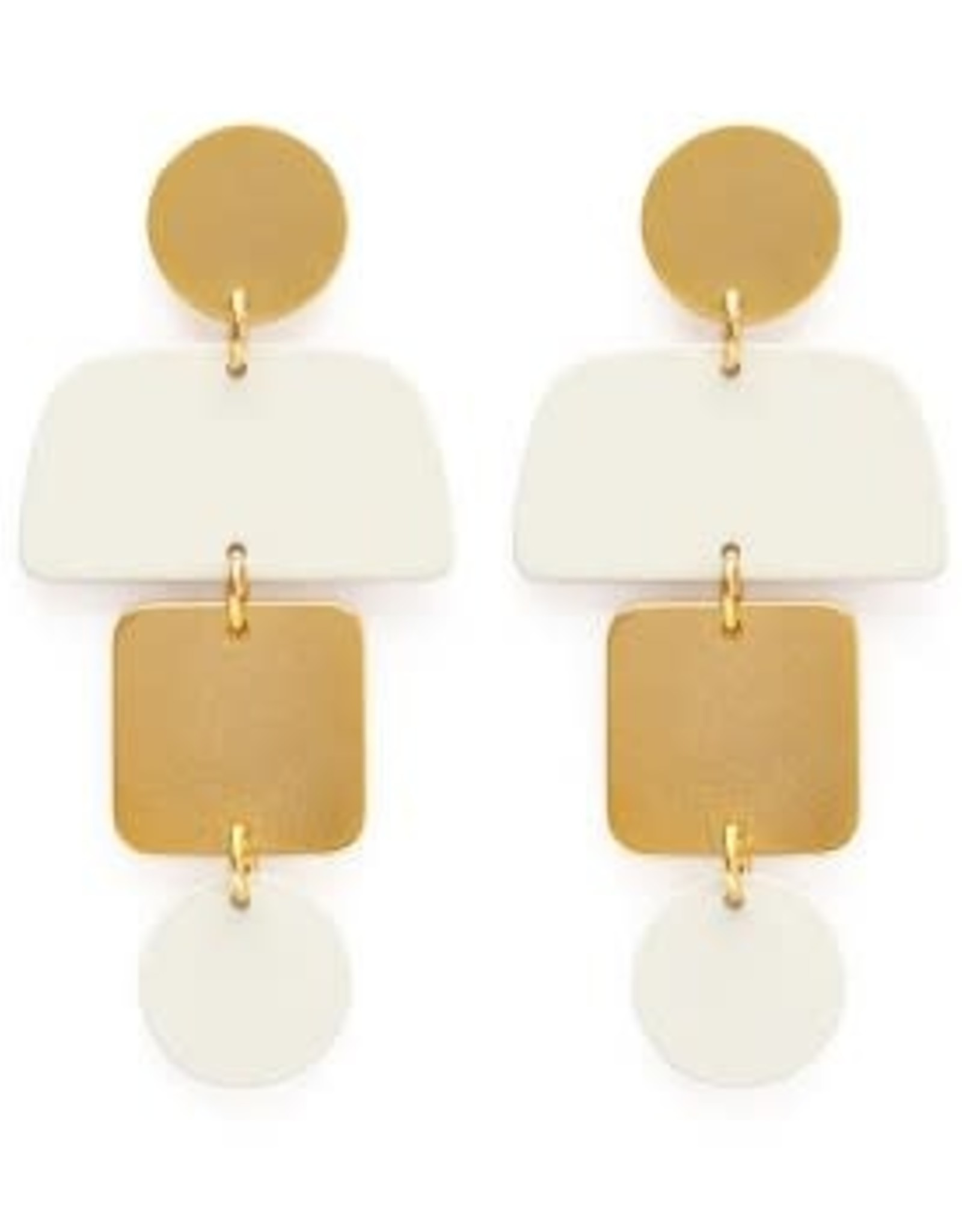 AMANO TRADING INC AMANO GEOMETRIC STACK STUDS IN IVORY