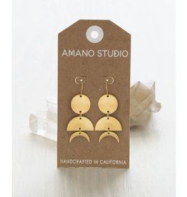 AMANO TRADING INC AMANO CELESTIAL GEO EARRINGS BRASS
