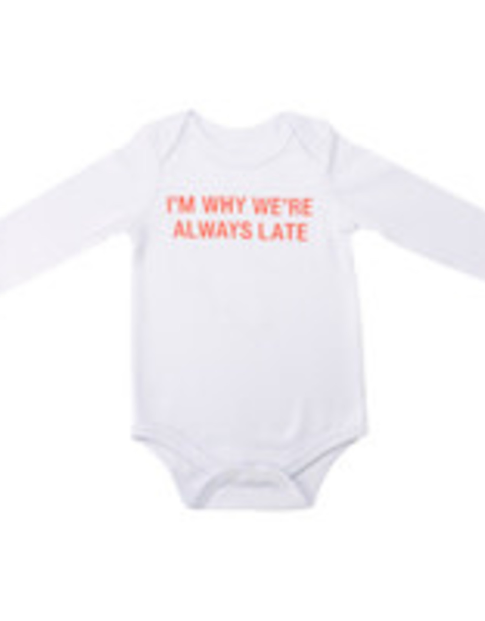 ABOUT FACE ABOUT FACE ALWAYS LATE ONESIE