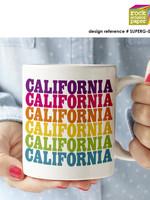 ROCK SCISSOR PAPER RSP RAINBOW CALIFORNIA MUG