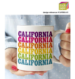 ROCK SCISSOR PAPER RSP RAINBOW CALIFORNIA MUG