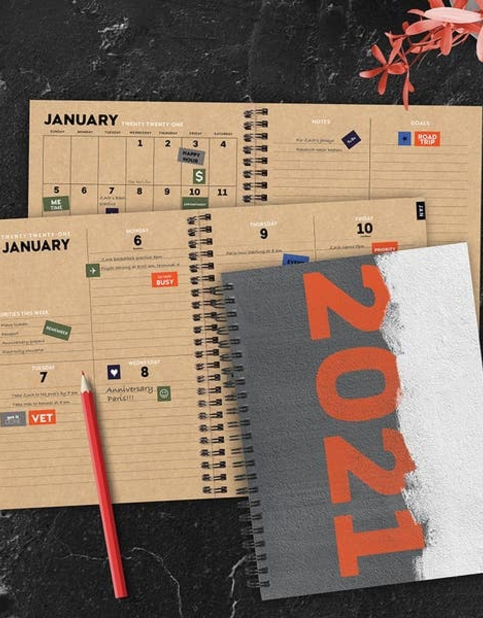 TF PUBLISHING GREY PLANNER WITH STICKERS