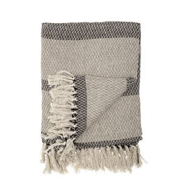 BLOOMINGVILLE BLOOMINGVILLE GREY AND CHARCOAL STRIPE COTTON THROW
