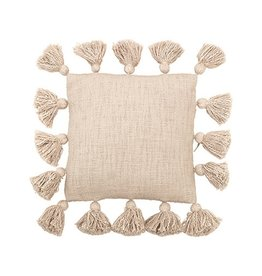 BLOOMINGVILLE BLOOMINGVILLE SMALL CREAM 12 IN PILLOW WITH TASSLES