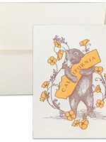 SF MERCANTILE SF MERCANTILE CA BEAR AND POPPIES NOTE CARD