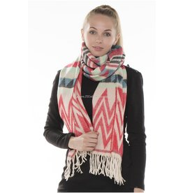 JTC JTC RED AND CREAM TRIBAL SCARF