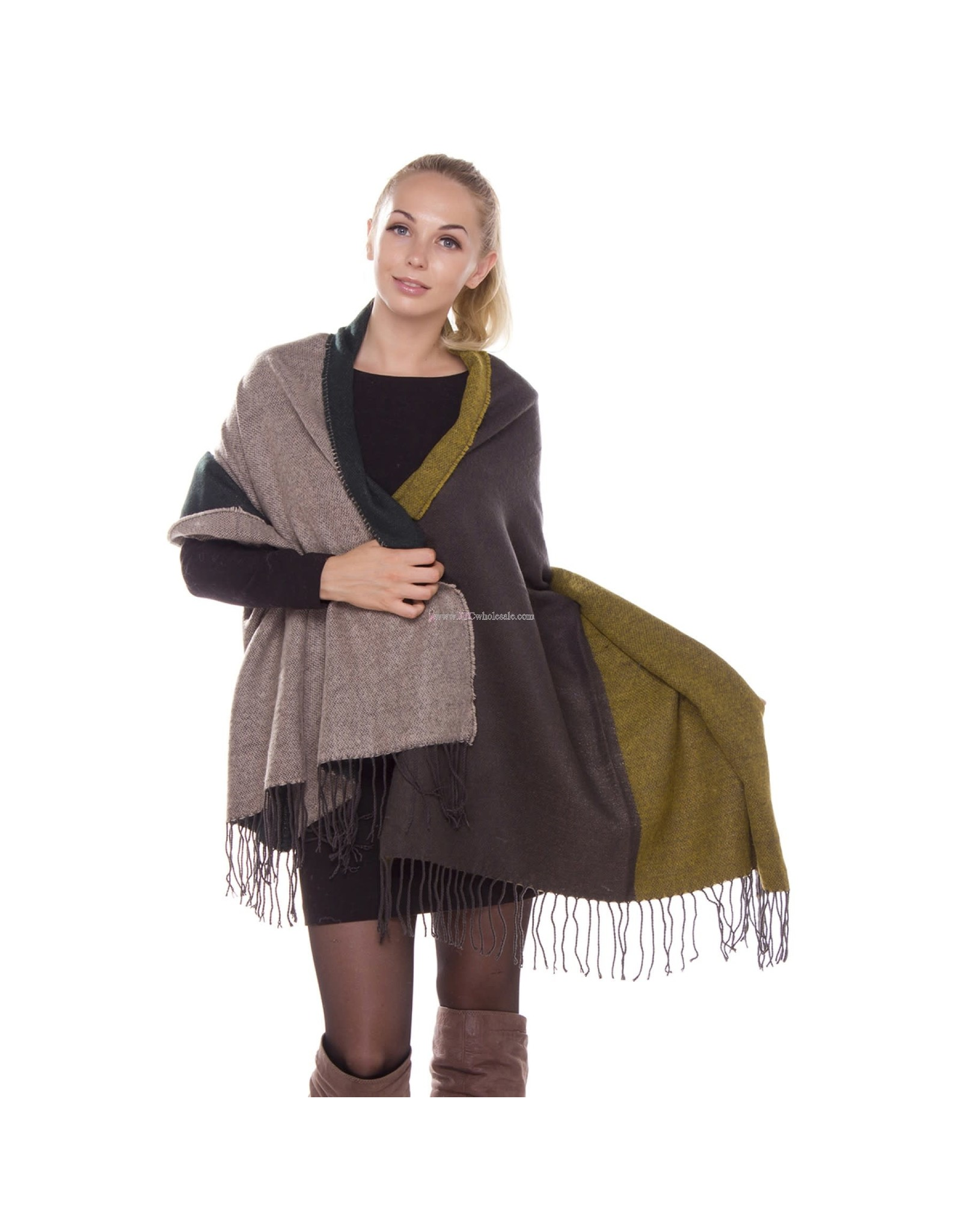 JTC JTC MAUVE GREY AND GREEN BLANKET SCARF
