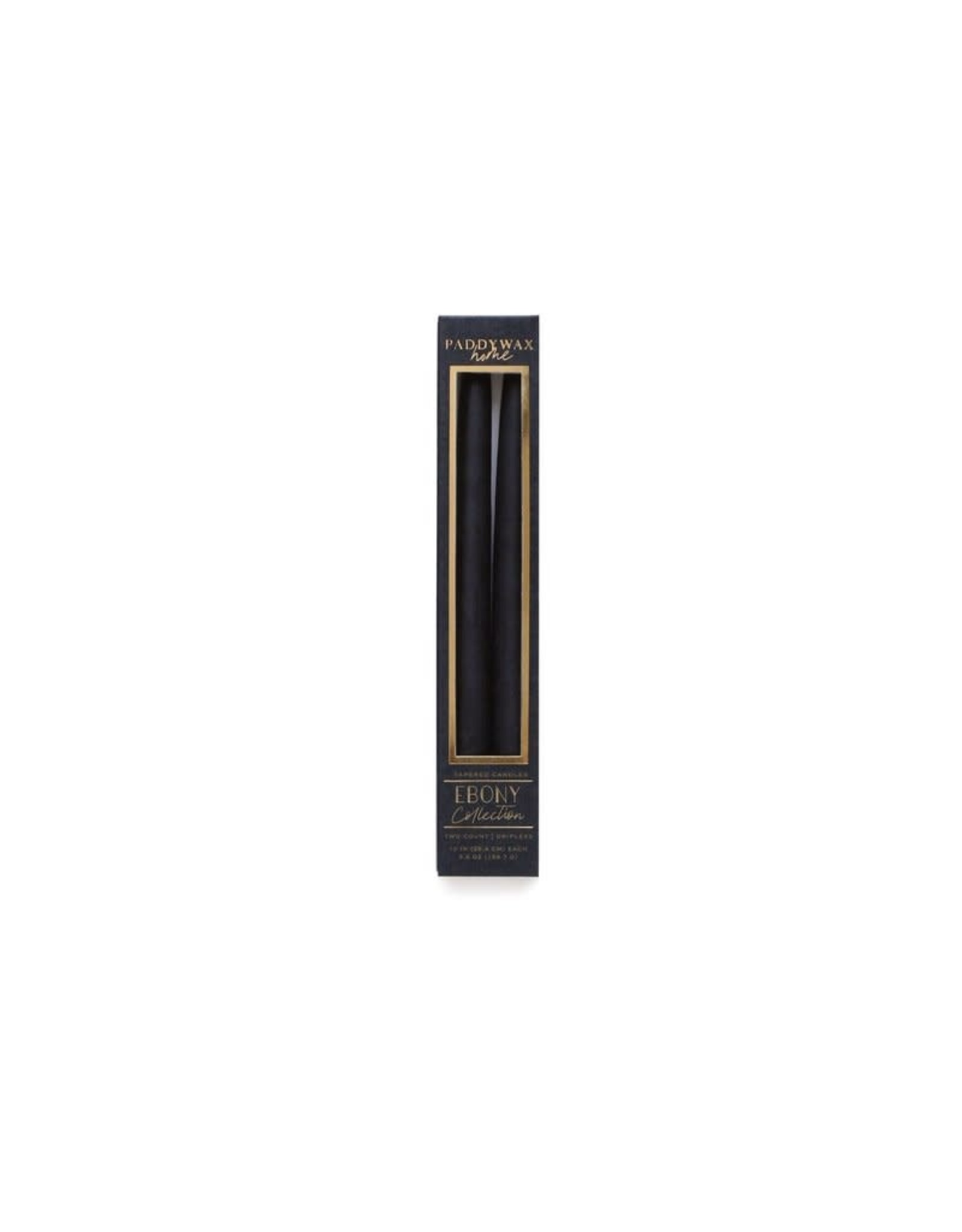 "PADDYWAX 10"" TAPPERED CANDLE 2 PACK - EBONY"