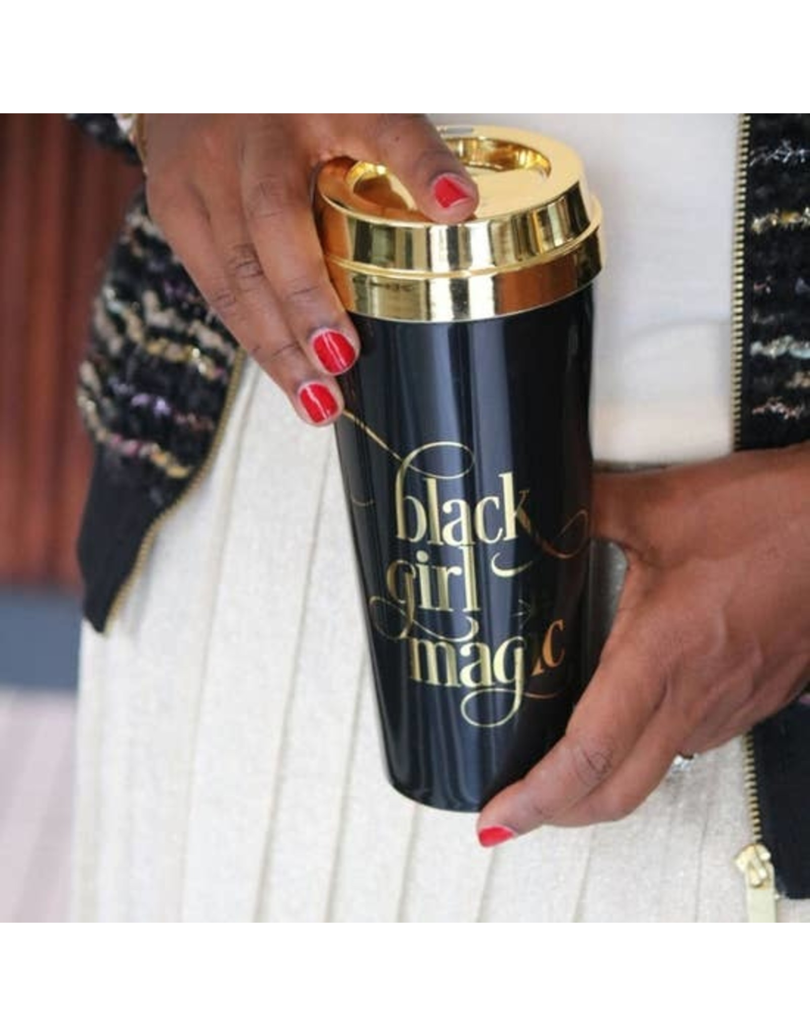 EFFIE'S PAPER BLACK GIRL MAGIC PLASTIC TRAVEL MUG
