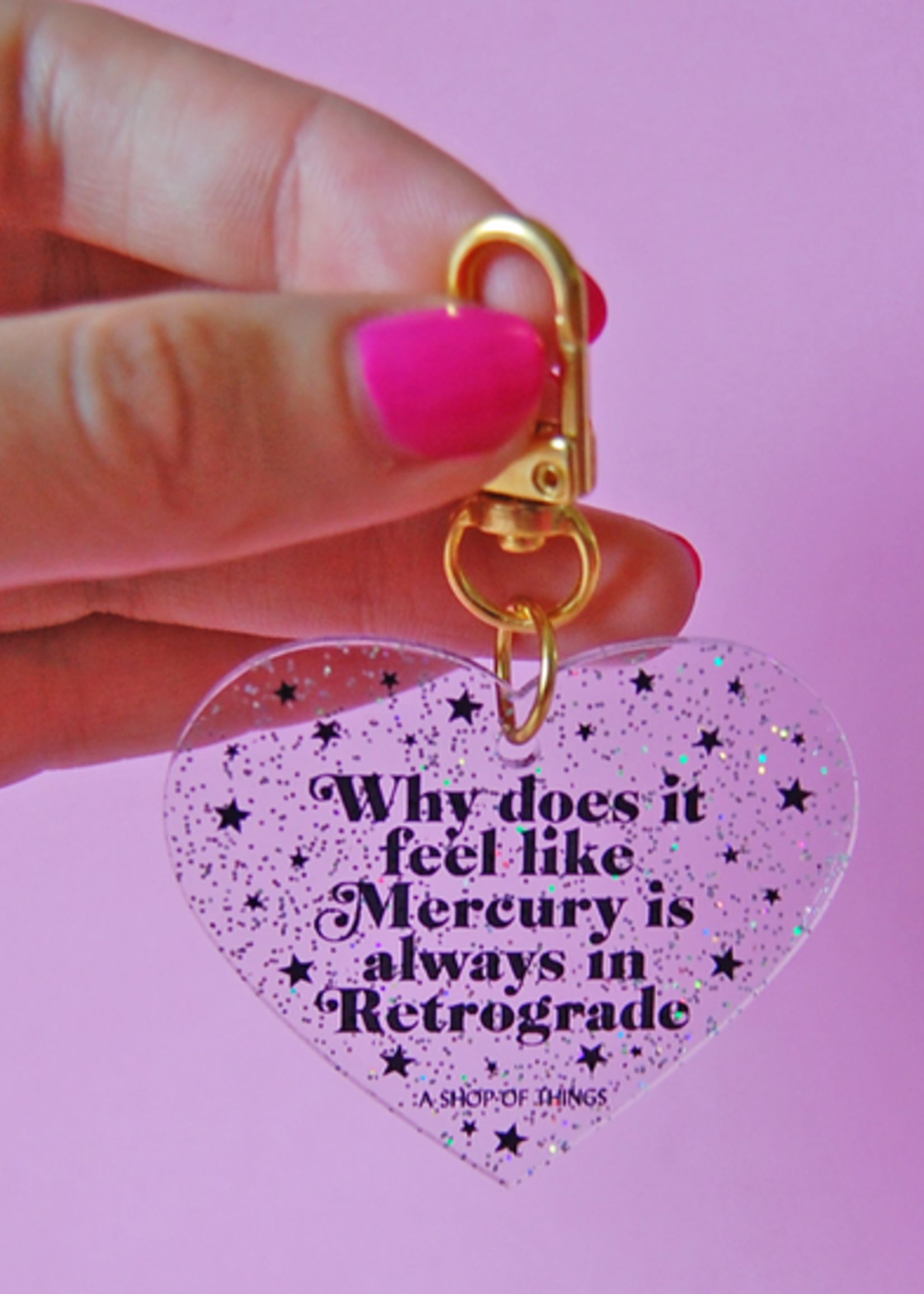 A SHOP OF THINGS RETROGRADE GLITTER KEYCHAIN