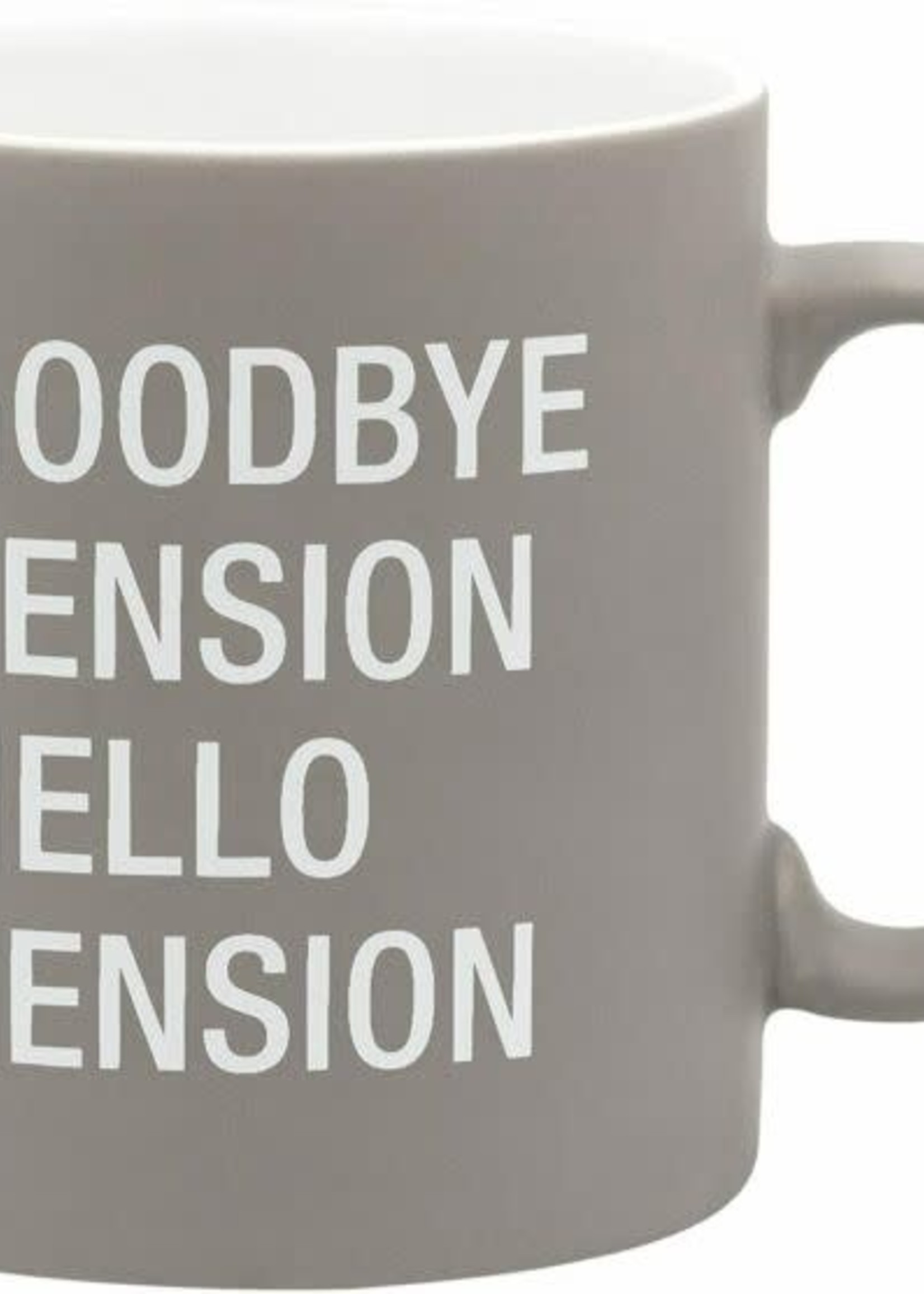 ABOUT FACE ABOUT FACE HELLO PENSION MUG