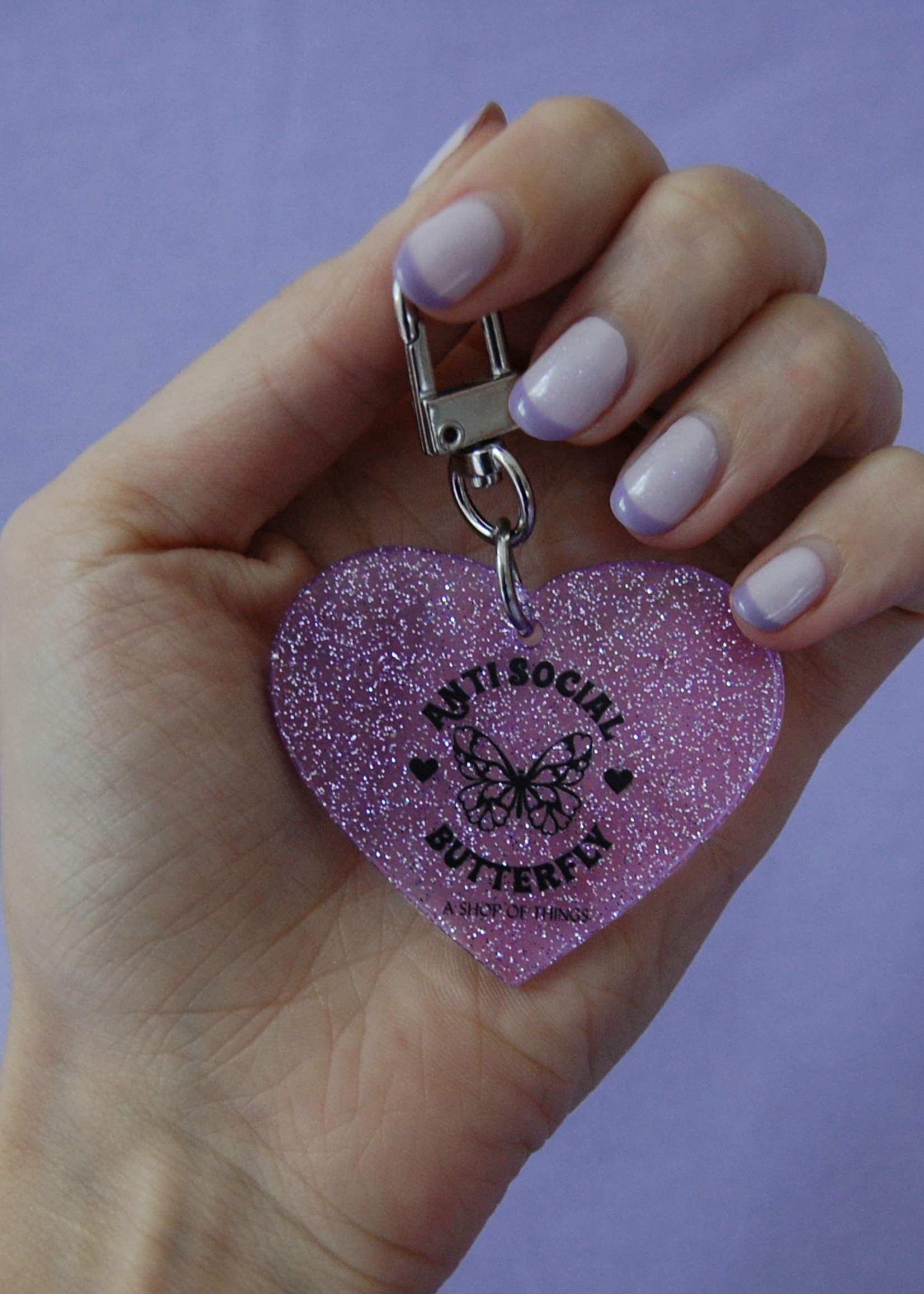 A SHOP OF THINGS ANTI SOCIAL BUTTERFLY GLITTER KEYCHAIN