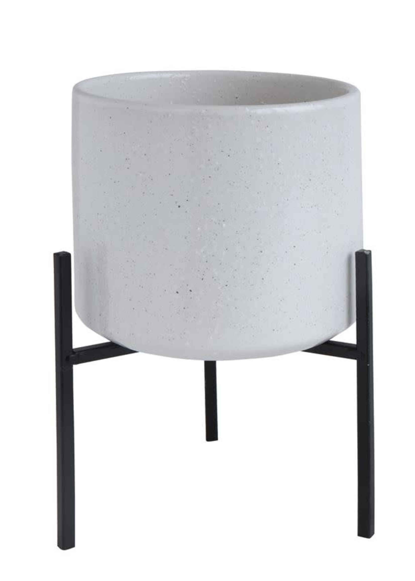 BLOOMINGVILLE BLOOMINGVILLE WHITE POT WITH BLACK STAND
