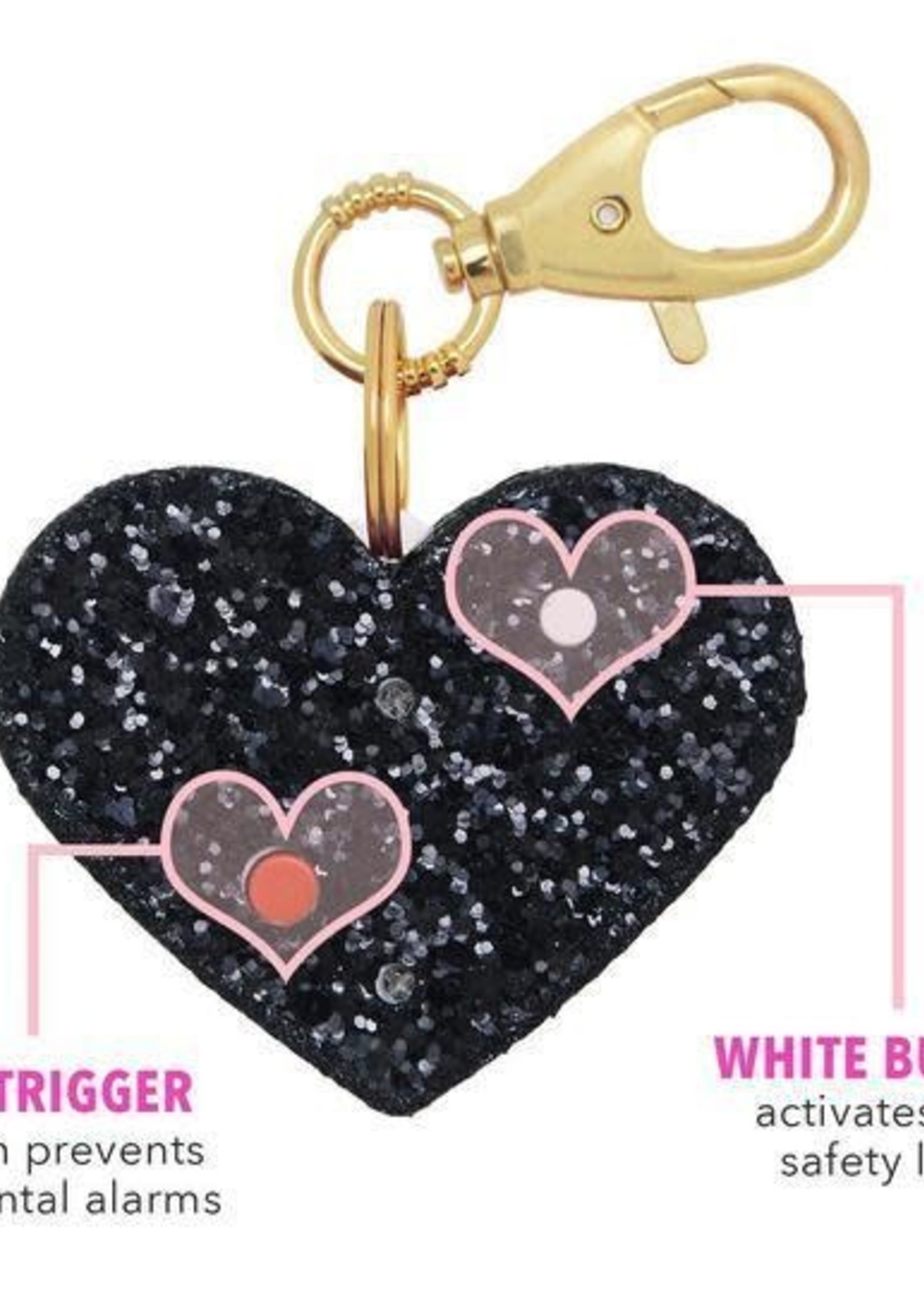 SUPER SPARKLY SAFETY STUFF PERSONAL AHH!-LARM - BLACK GLITTER HEART