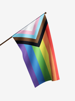 """FLAGS IMPORTER FLAGS IMPORTER PROGRESSIVE PRIDE 18"""" FLAG ON A STICK"""