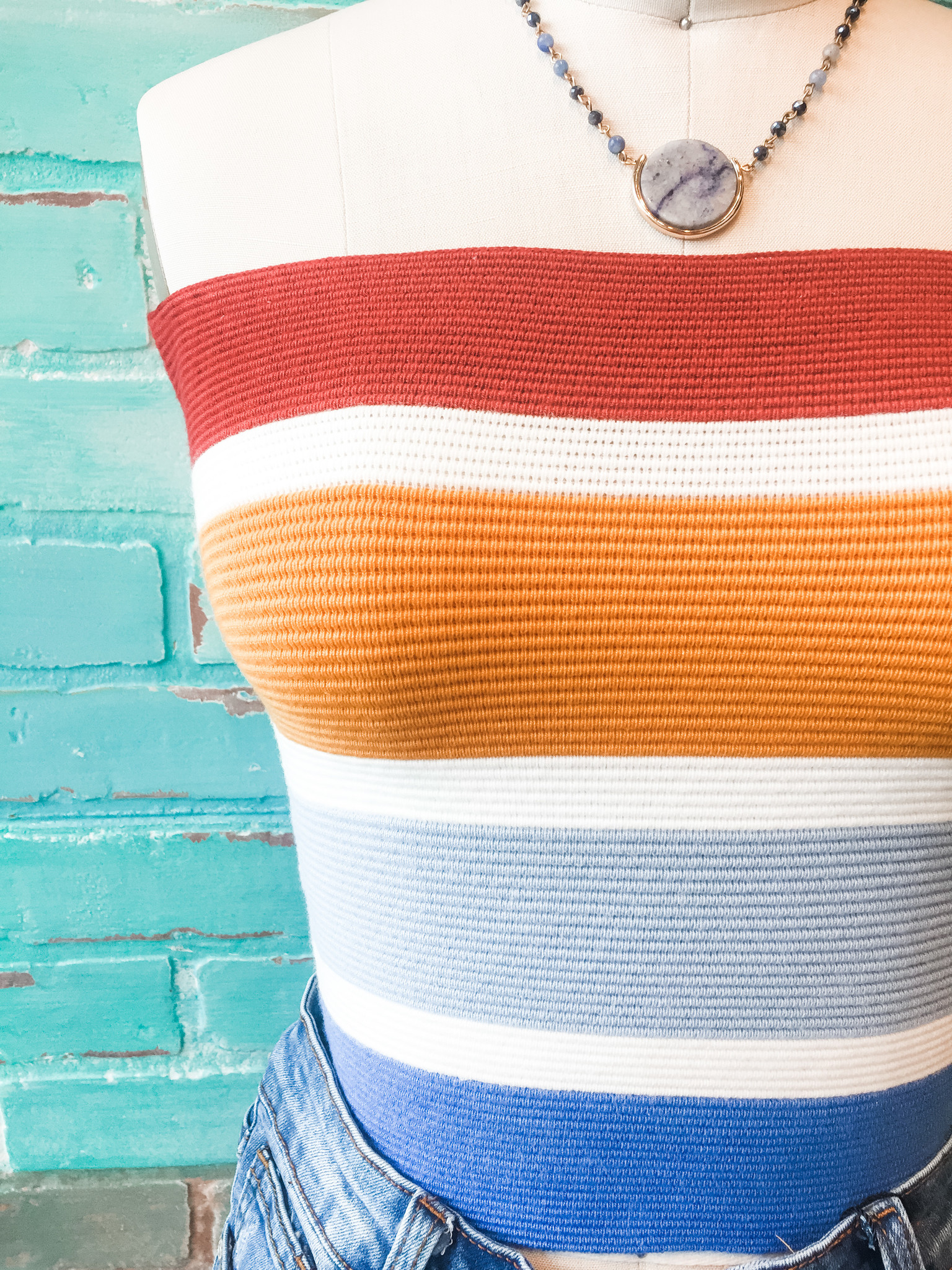 Envy Label Counting Stripes Tube Top