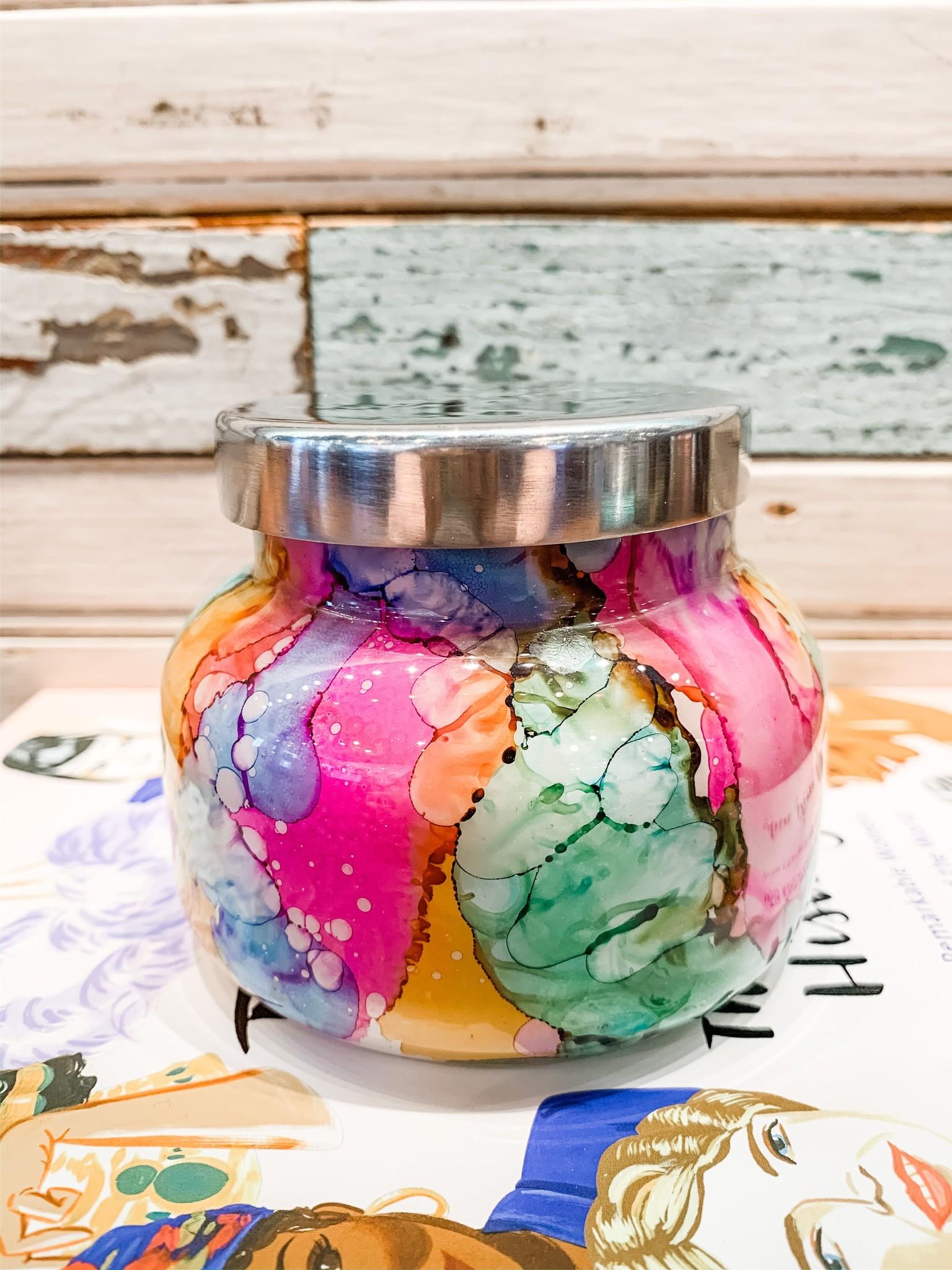 Capri Blue Volcano Rainbow Watercolor Petite Candle