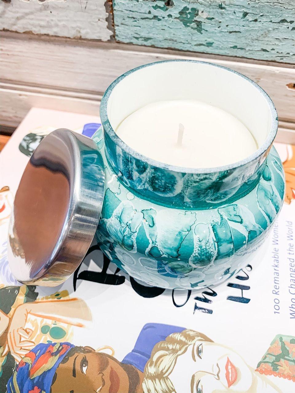 Capri Blue Volcano Watercolor Petite Jar Candle