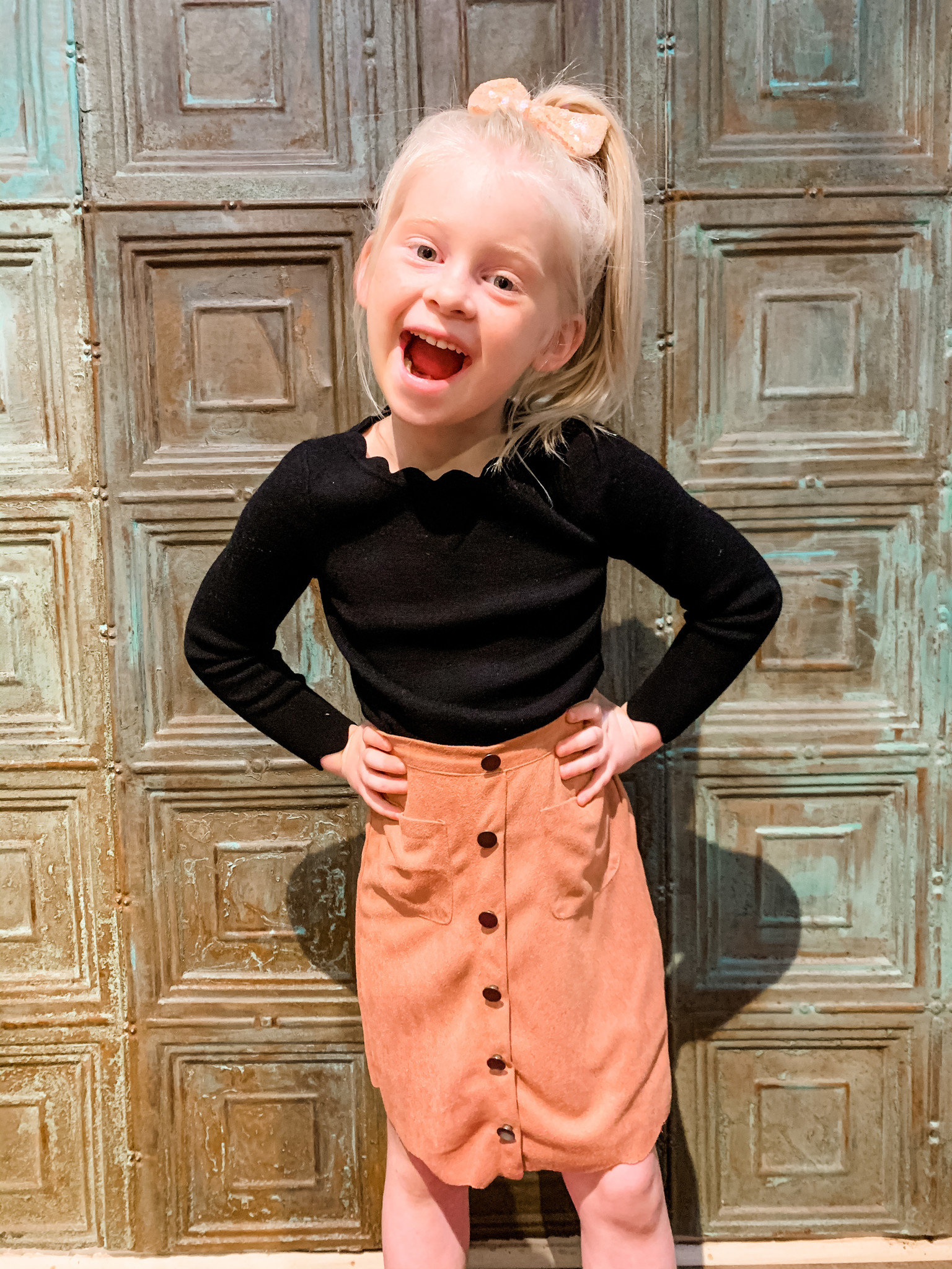Work It Out With Haddie Mac Button Up Suede Tween Skirt