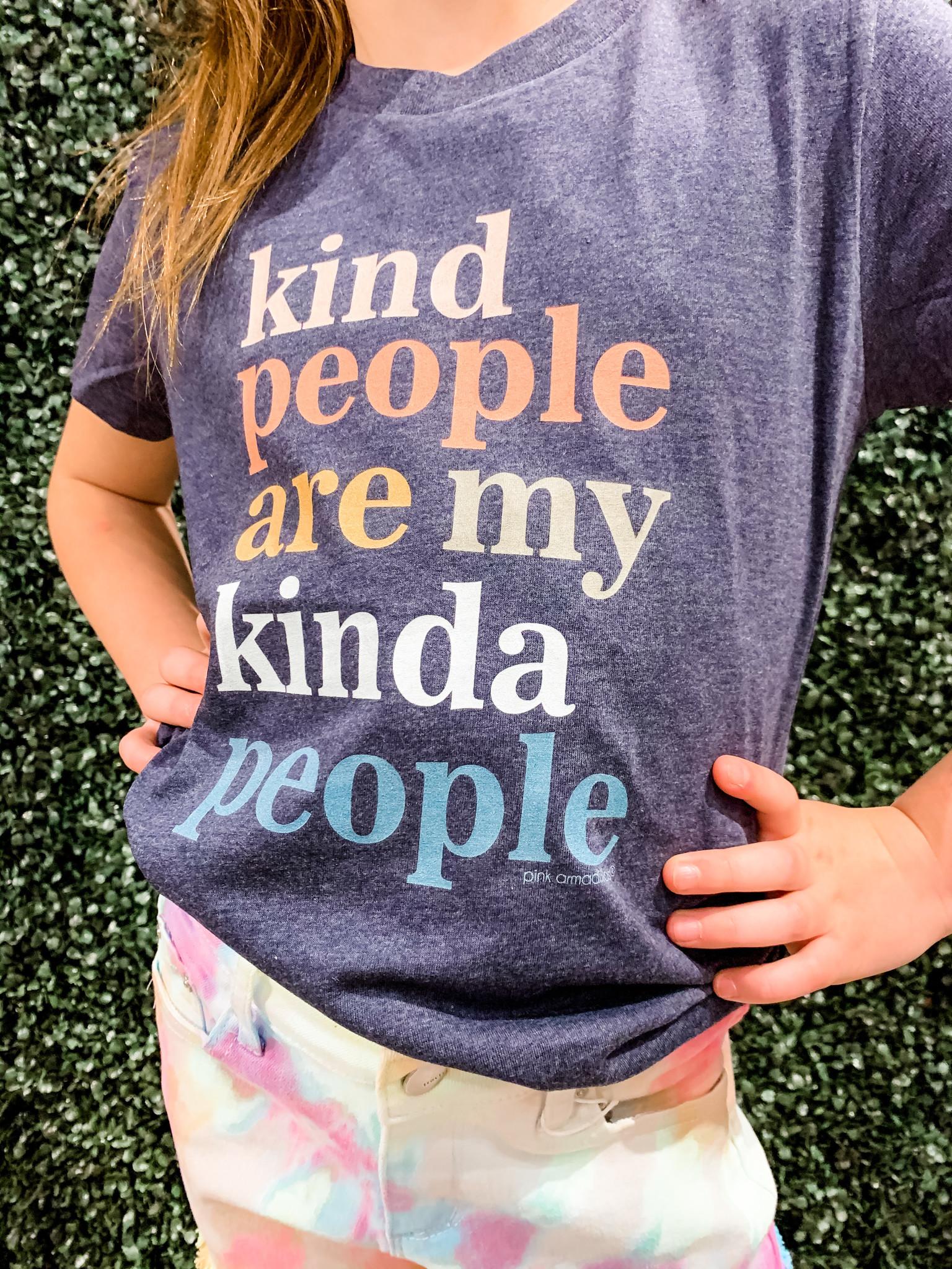 Pink Armadillo Kind People Are My Kinda People Tween Tee