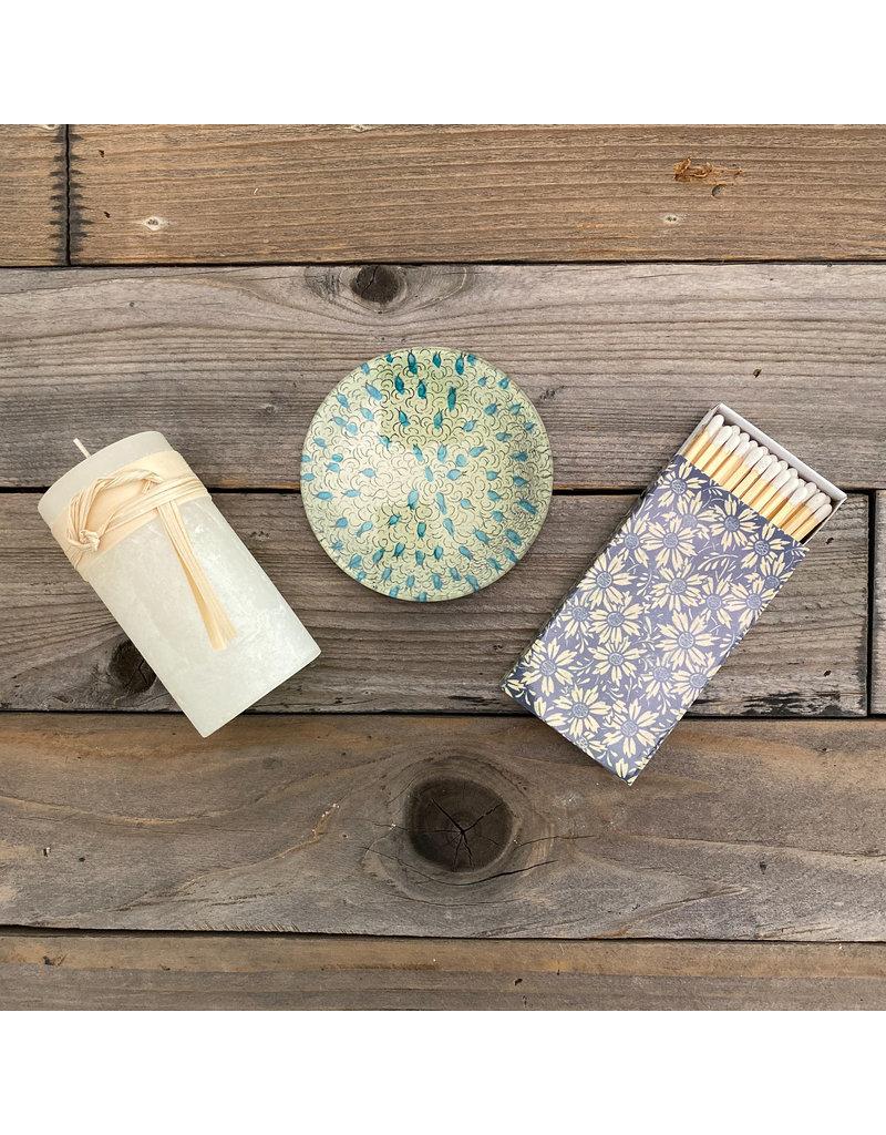 Columbine Home Blue Dot, Melon White Candle & Matches Set