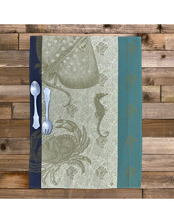 Columbine Home Dishtowel & Salad Server Set, Crab Pacific • Sky