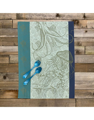 Columbine Home Dishtowel & Server Set, Marine Meduse Pacific • Turquoise