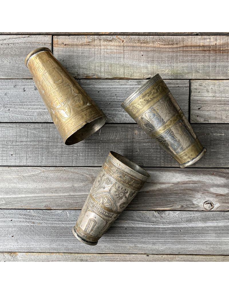 Columbine Home Vintage Pakistani Lassi Brass & Tin Cups