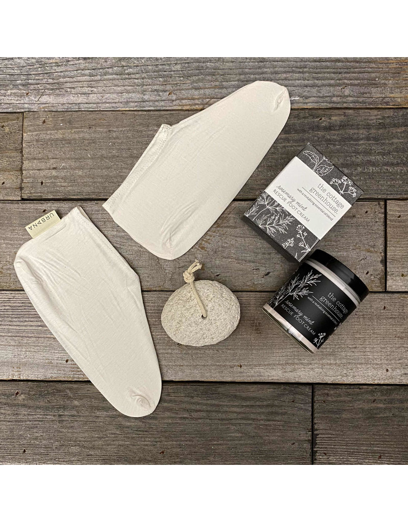 Columbine Home Rescue Foot Cream, Booties & Pumice Stone Set