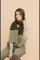 Two-Tone Pom Scarf, Mar by Master Knit