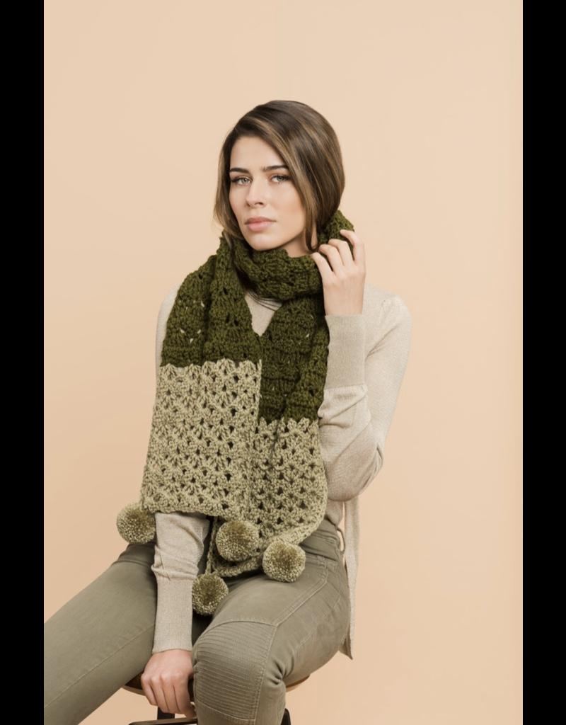 Master Knit PATTERN TWO-TONE POM SCARF