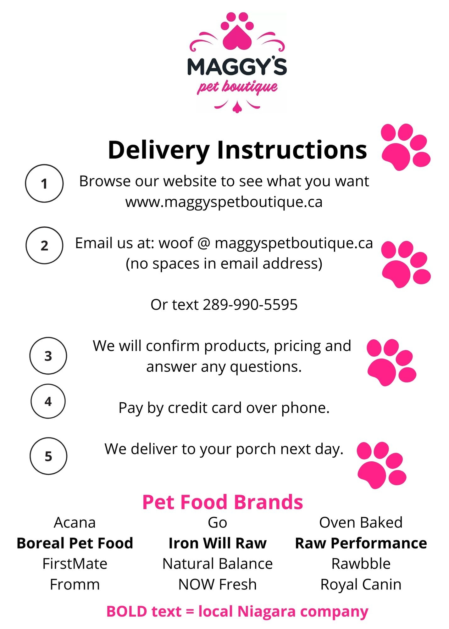 Pet Food Delivery in Lincoln and St Catharines