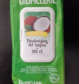 tropiclean tropiclean deodorizing wipes 100ct