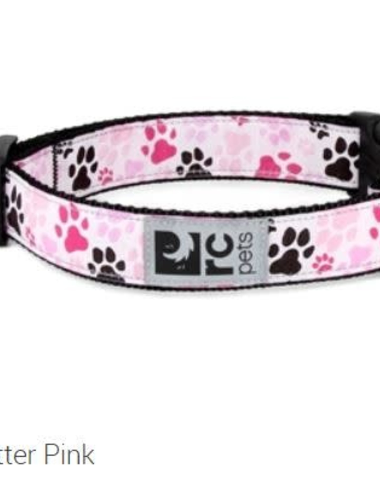 "RC Pets RC clip collar 1"" large pitter patter pink"
