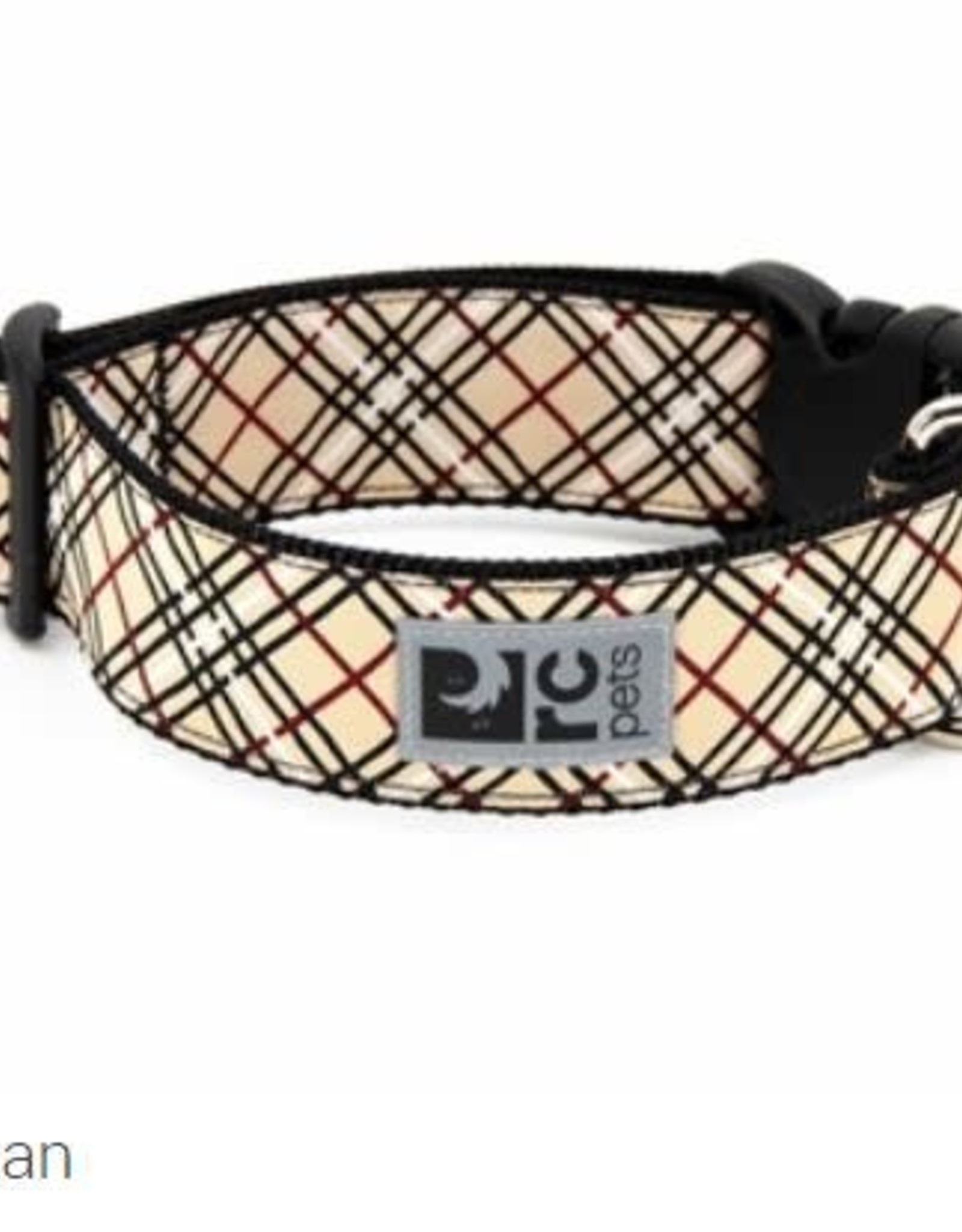 "RC Pets RC clip collar 1.5"" large tan tartan"