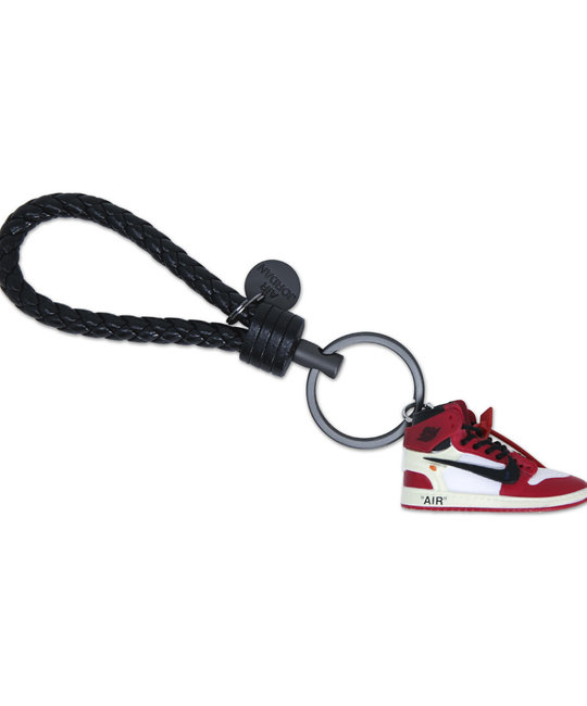 "Handcrafted AJ1 ""Off-White Chicago"" 3D Sneaker Keychain with Box/Bag"
