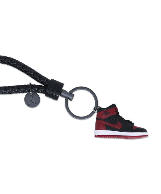 "Handcrafted AJ1 ""Bred/Banned"" 3D Sneaker Keychain with Box/Bag"
