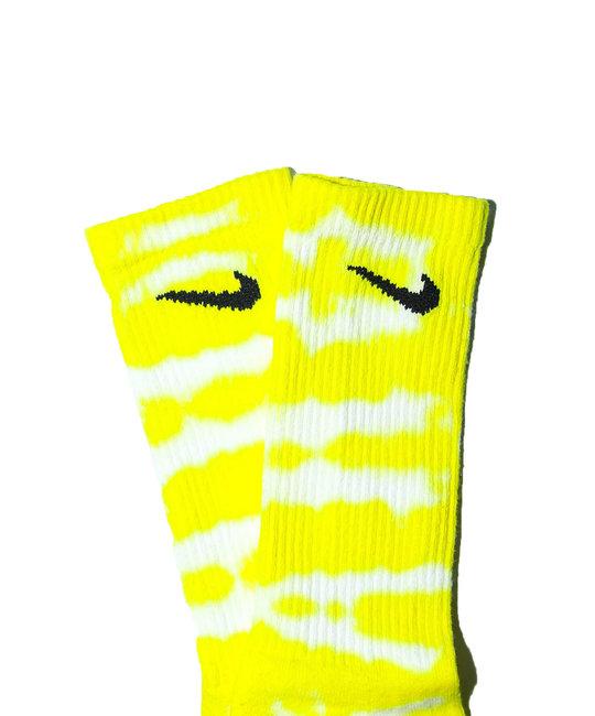 TYE DYE SOCKS - Bright Yellow Stripe 2