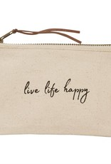 Mudpie LIVE LIFE- PAZITIVE CANVAS POUCHES