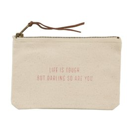 Mudpie MUD Life Is Tough Canvas Pouch