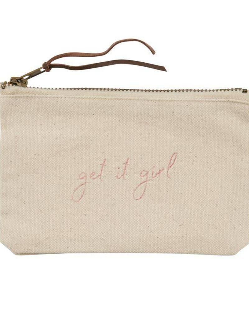 Mudpie GET IT GIRL- PAZITIVE CANVAS POUCHES