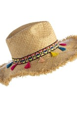 Fringe Hat, Natural with Colored Tassels
