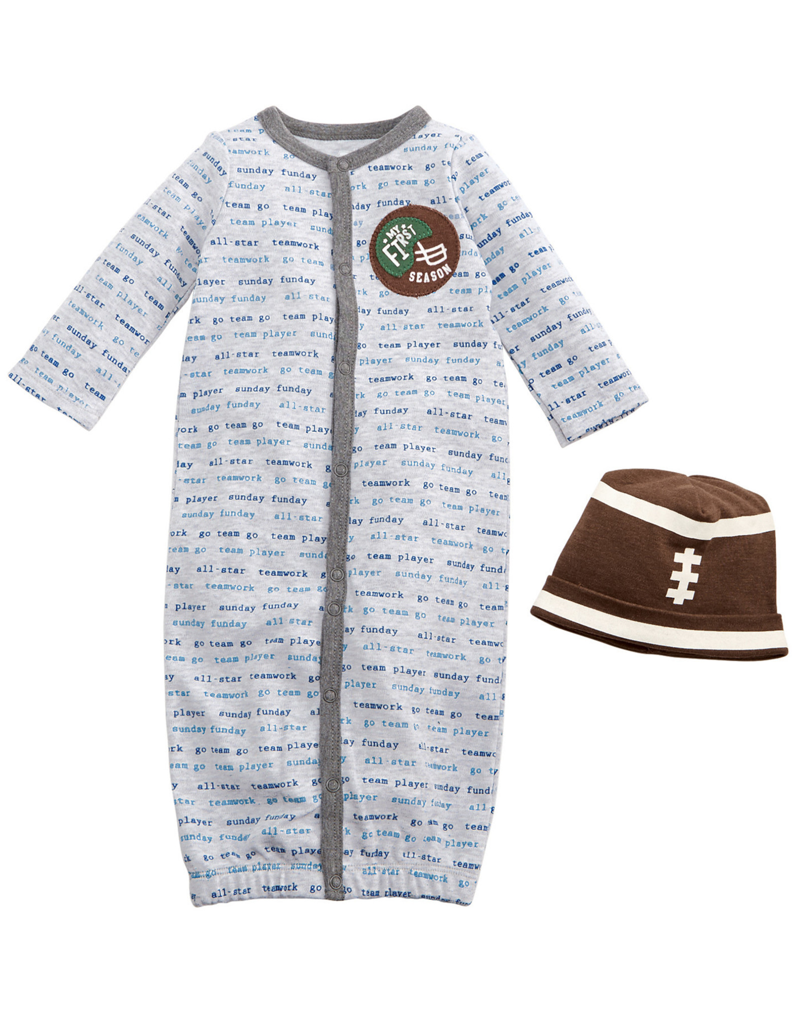 Mudpie Football Gown with Cap, 0-3 Mos.