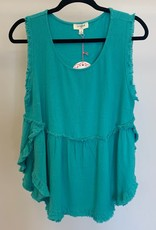 Umgee Hi/Low Sleeveless Top - Turquoise, Small