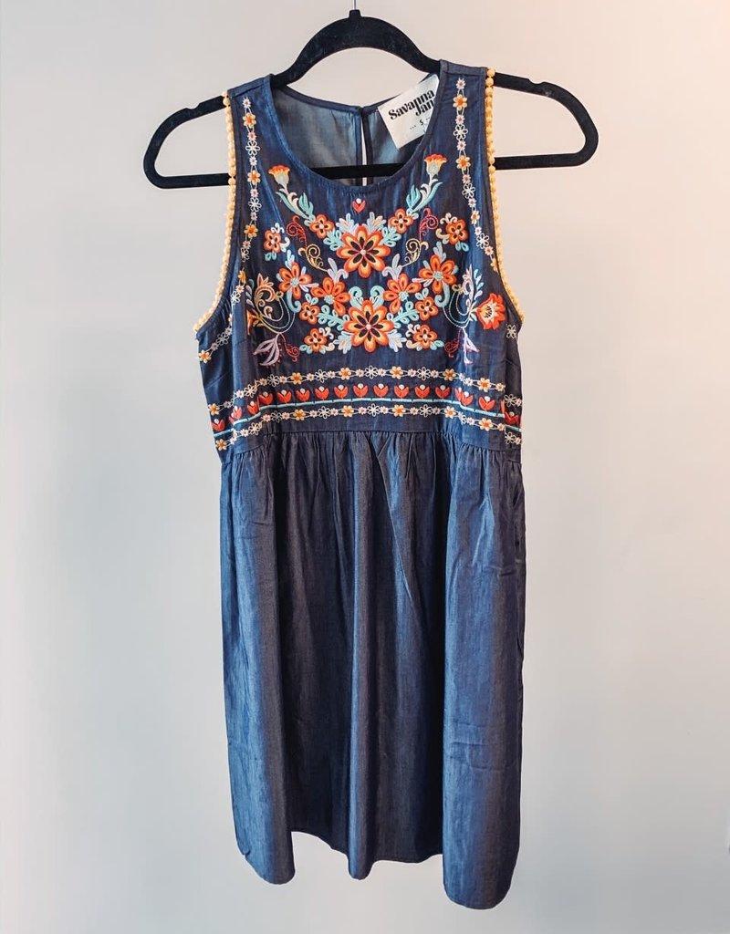 Denim Dress with Floral Print- Medium