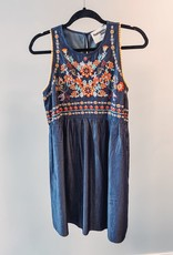 Denim Dress with Floral Print- Large