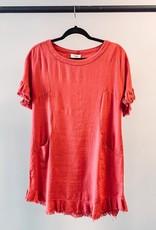Umgee Frayed Dress - Coral - Small