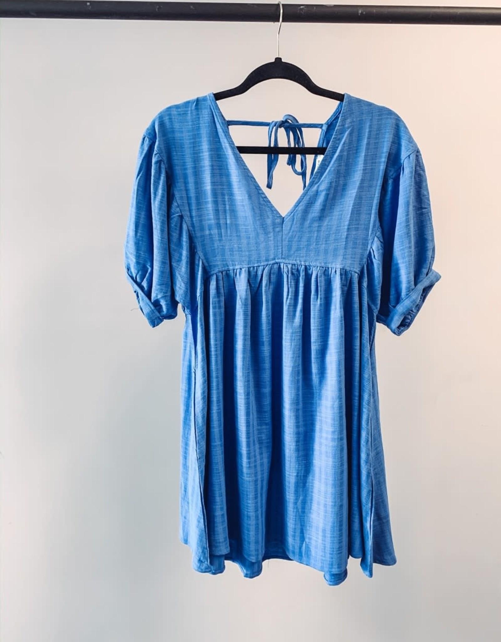 Umgee Puff Sleeve Dress - Blue - Small
