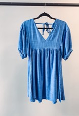 Umgee Puff Sleeve Dress - Blue - Large
