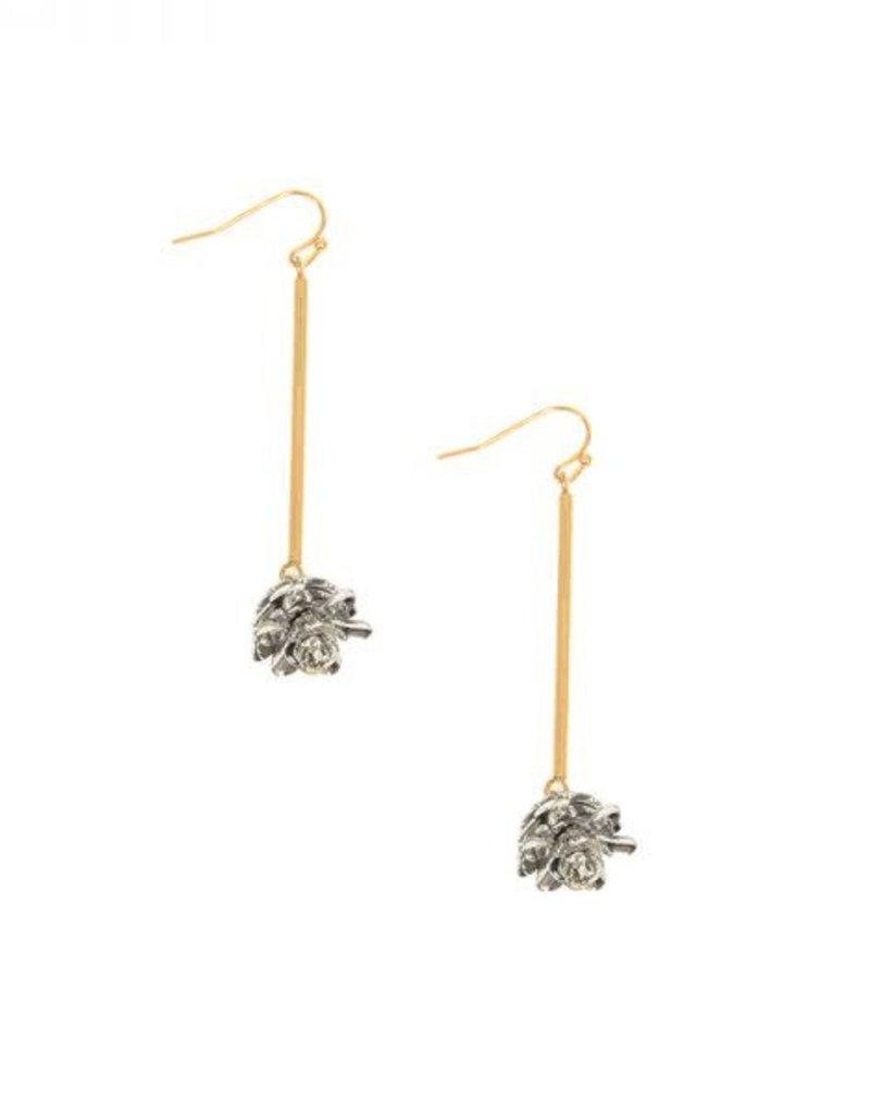 Two Tone Flower Drop Earrings